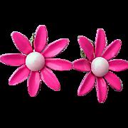 1960s Vintage Pink Enamel Flower Earrings Clip On Spring and Summer