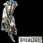 Sterling Silver Caladium Leaf Brooch 1940s Exotic Flowers with Blue Rhinestones 15.5 Grams