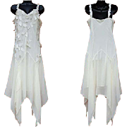 1990s Silky White Beaded Cocktail Dress Handkerchief Hem 1920s Style