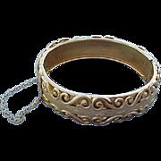 Vintage 1960s Etched Gold Tone Bangle Bracelet Sleek Swirls