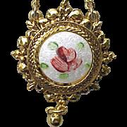 Sweet Vintage Rose Guilloche Enamel  Necklace by ART