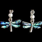 Darling Dragonfly Pierced Earrings Luminescent Abalone Shell Damselfly