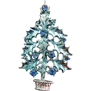 Vintage Rhinestone Christmas Tree Brooch Blue to Lavender