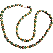 1970s Jade Bead Necklace with Gold Plated Spacers