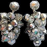 SALE Vintage 1960s Cascading Crystal Clip  Earrings for Custom Swarovski