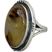 SALE Agate Ring Medieval Style Domed Stone Size 5-3/4 Game of Thrones