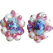 SALE Gorgeous 1960s Pink Blue Art Glass and Crystal Earrings Clip On