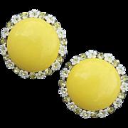 SALE 1960s Earrings Daisy set Jonquil Crystal Rhinestones Summer Sweet