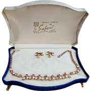 SALE 1950s Pink Rhinestone and Faux Pearl Parure in Presentation Box