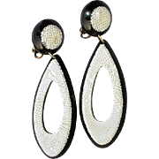 SALE Vintage Black and White  Clip On Earrings Laminated Cellulose Acetate Likely Lea Stein