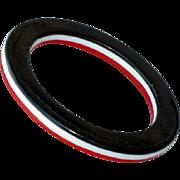 Vintage 1970s Lucite Bangle Bracelet Laminated Black Red and White Mod Fashion
