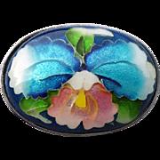 Vintage Brooch  Ando Cloisonne Orchid Enamel Japanese Artistry