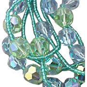 Vintage 5 Strand Crystal Necklace and Earrings Eugene Turquoise Blue Light Blue
