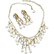Necklace Earrings Rhinestone Runway Demi Parure 1960s White Glass