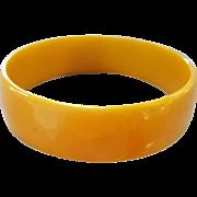 SALE Wide Vintage Bakelite Bracelet Slice of Swirled Golden Yellow
