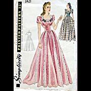 Stunning 1940s Evening Wedding Gown Sewing Pattern Bust 34 Dress