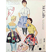 SOLD 1950s McCall's 1878 Vintage Sewing Pattern Apron One Yard Variety