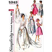 Size Large Vintage Wedding Dress Simplicity Sewing Pattern 5343