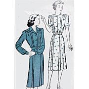 Very Rare 1940s Dress Vintage Sewing Pattern Bust 50