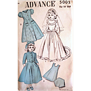 SOLD Vintage 18 inch 1940s Walker Doll Wedding Dress Clothes Sewing Pattern Uncut