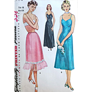 SOLD Simplicity 4470 Vintage Sewing Pattern One Piece Slip 2 lengths and Half Slip Bust 34