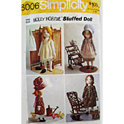 """1973 Vintage 16"""" Holly Hobbie Stuffed Doll with Clothing Sewing Pattern"""