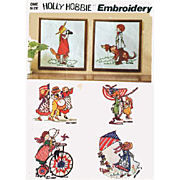 SOLD 1970s Holly Hobbie Doll Hot Iron Embroidery Pattern Patriotic Designs