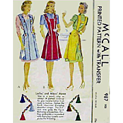 Vintage 1940s Apron Sewing Pattern Size Large McCall 987 Tassels and Embroidery