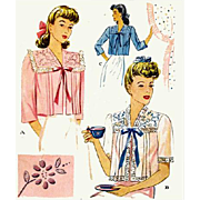 SOLD 1940s Sewing Pattern Vintage Bed Jacket Cocktail Cover Size Medium Bust 34 - 36