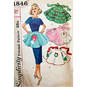 1960s Vintage 1 Yard Apron Sewing Pattern Valentine's Day Heart and Lovey Dove