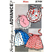 Vintage 1950s Aprons EASY SEW Pattern Fancy Plain Hostess
