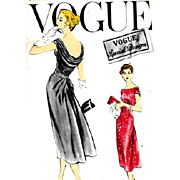 1950s Cocktail Dress Sewing Pattern Bust 38 Vogue S-4826
