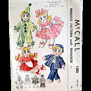 1940's Sock Dolls Sewing Pattern Ballerina Clown Sailor McCall 1502