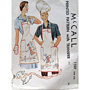 SALE Unisex Vintage Sewing Pattern BBQ Aprons Hats Mitts Embroidery Transfer McCall 1597