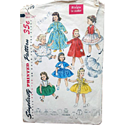Original 22 inch Doll Clothes Sewing Pattern 1950s Simplicity 1779 Sweet Sue Binnie