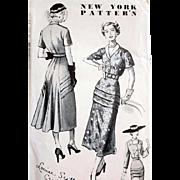 SALE 1940s New York Designer Vintage Sewing Pattern Stunning Dress Size Small
