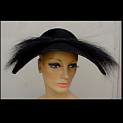 SOLD Magnificent 1940s Black Beaver & Feathered Hat New Look Dior Style