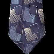 SOLD 1920s to 1930s Vintage Necktie Blue Damask Downton Abbey  Era Neck Tie