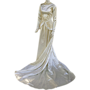 1940s Detailed Wedding Dress Cathedral Train Bridal Satin Gown Size Small