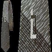 SOLD Fabulous Vintage Narrow Necktie Silk Ombre Black and Gray Silver Metallic