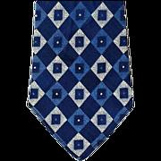 Late 1930s to Mid 1940s Men's Vintage Necktie Blue Silver Silk Damask
