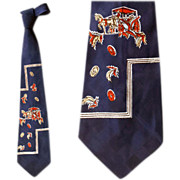 SOLD 1950s Wide Vintage Neck Tie Novelty Print Horse & Carriage Traveling Man