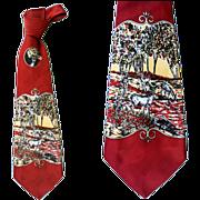 1940 - 1950s Vintage Necktie Rayon Damask Novelty Deer Hunting