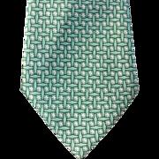 SOLD 1940s Vintage Necktie Silk Neck Tie Teal and White Print Classy Neck Tie