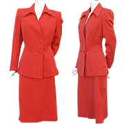Iconic 1940s Gabardine Suit True Red Size Large - X Large Women's Fashion