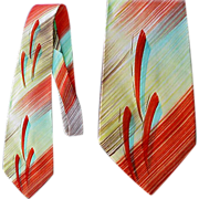 Wide Vintage 1940s - 1950s Hand Painted Necktie Bold Air Brush Strokes Colorful