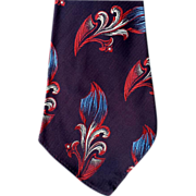 SOLD 1930's - 1940's Flashy Men's Vintage Necktie Silk Jacquard Damask