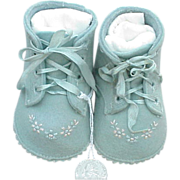 SOLD Vintage Blue  Baby Booties  Embroidered Newborn Size Blue Unused - Red Tag Sale Item