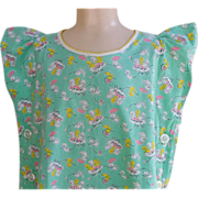 SOLD 1920s - 1930s Child's Dress Play Smock size 3 - 4 Novelty Print Cotton Fabric