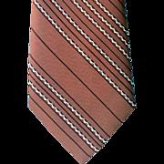 1960s Narrow Vintage Necktie Warm Brown Stripes Classic Neck Tie